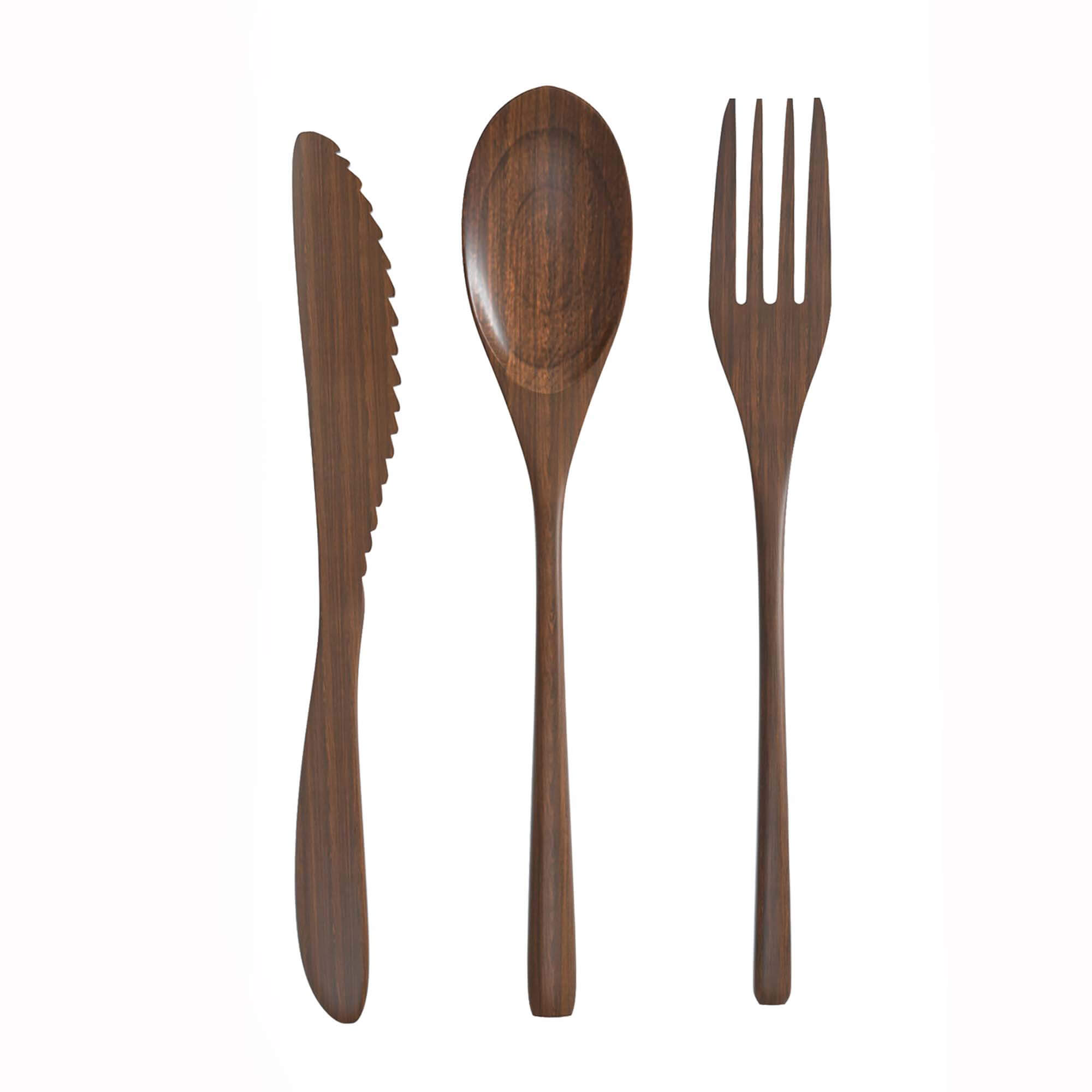 Wooden Cutlery Set With White And Blue Pouch  U2013 Eco